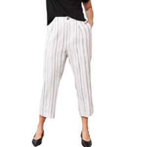 ellos Straight Cropped Linen Trousers White NWT 20